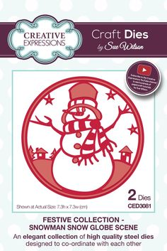 Creative Expressions Craft Dies by Sue Wilson - Festive Collection - Snowman Snow Globe Scene Snowman Snow Globe, Christmas Snow Globes, Christmas Snowman, Kids Christmas, Christmas Cards, Sue Wilson, T Art, Shaker Cards, Card Tags
