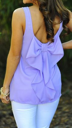 Lilac bow back tank //