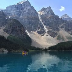 Morning paddle at Moraine Lake in #Alberta #Canada. Captured by #LP travel writer, @carolynbheller
