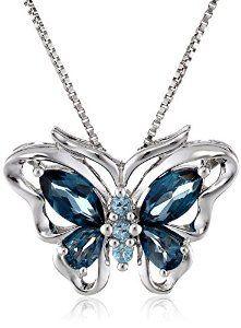 """Sterling Silver Swiss and London Blue Topaz Butterfly Pendant Necklace, 18"""" available at joyfulcrown.com"""