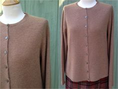 Plus Size 1990s Valerie Stevens Brown Cashmere  Cardigan Sweater, Size XL, Made in Hong Kong by HiddenTreasureHunter on Etsy