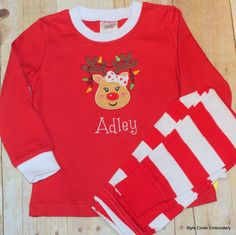 Personalized Christmas Pajamas, Reindeer Girl Pajamas, Personalized Pajamas, Holiday Striped Pajamas, Embroidered Pajamas by StyleCircle on Etsy