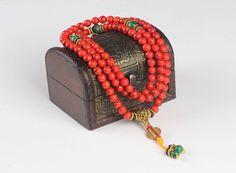 Buddhist Red Coral Mala Bracelet