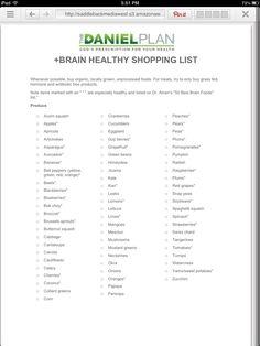 Shopping list for the Daniel plan