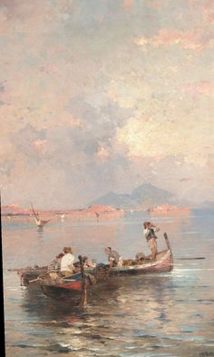Franz Richard Unterberger-Fisherman in the Bay of Naples Aesthetic Painting, Aesthetic Art, Simple Aesthetic, Aesthetic Pastel Wallpaper, Aesthetic Wallpapers, Classic Wallpaper, Drawn Art, Painting Wallpaper, Art Hoe