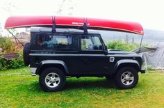 Two good things in Härnösand, the High Coast (Höga Kusten). Land Rover Defender + Mad River Canoe