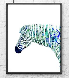 Aquarell+Blau+Zebra+Kunstdruck+Tier+Aquarell+Kunst+von+Thenobleowl