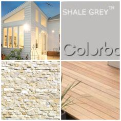 House colours, white weatherboard, shale grey roof, Ivory stack stone column and blonde timber decking