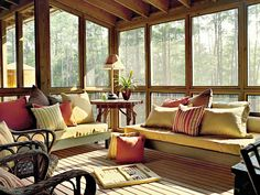 Screened Porch: West Bay Idea House - MyHomeIdeas.com wooden daybeds with single mattresses