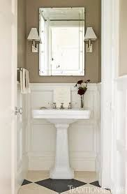 Image result for powder room pedestal sink with 2 narrow tall cabinets