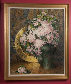 "A signed oil on board by American artist Dines Carlsen (1901 - 1966).  Still life. CIRCA: 1940 DIMENSIONS: 39"" h x 32"" w PRICEL $10,950"