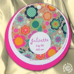 Faire-part de naissance fille rond fleurs colorées - NN13-057-2