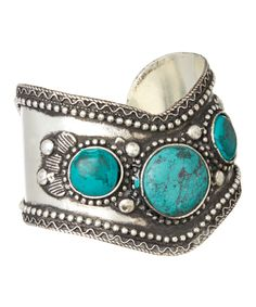 Loving this Silver & Turquoise Triple-Stone Cuff on #zulily! #zulilyfinds
