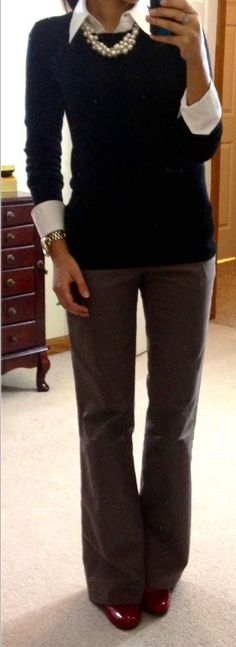Work outfit- necklace worn under collar, red shoes. Love this!
