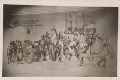 Zdjęcie Wiktora Nowickiego z 1941 r. – fresk w pałacu prymasowskim w Gnieźnie, przy ul. Łaskiego (wówczas - część ul. Poznańskiej). W czasie okupacji 1939-1945 gmach zajęła niemiecka komendantura miasta. Wbrew freskowi, w czasie najazdu na Gniezno w 1331 r. Dietrich von Altenburg (komtur, wielki mistrz krzyżacki dopiero od 1335 r.), nie otrzymał od mieszczan kluczy, a miasto bezlitośnie złupił i spalił. Ul, Vintage World Maps, Painting, Paintings, Draw, Drawings