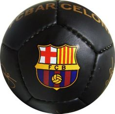 """FC BARCELONA BLACK MINI SOCCER BALL (SIZE 1) by F.C. Barcelona. $9.90. Makes a great bookshelf decoration Approx. 5.5"""" diameter.. Official F.C. Barcelona Mini Soccer Ball (Size 1). A terrific gift idea.. Perfect for display or a play with the littlest fans.. Officially Licensed. Makes a great gift idea for all F.C. Barcelona fans. The soccer-ball ships deflated, and needs inflation upon arrival."""