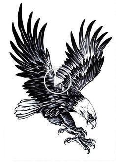 Large Eagle Temporary Tattoo - Pain Free & Fun for all ages, perfect gift idea and great party accessory for everybody. - Switch a tattoo in a matter of minutes Tatto Eagle, Eagle Tattoos, Leg Tattoos, Tribal Tattoos, Sleeve Tattoos, Tattoos For Guys, Tattoos For Women, Cool Tattoos, Henna Tattoos
