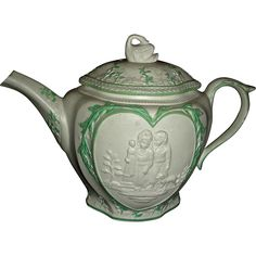 Staffordshire Molded (or Sprig Decorated) Stoneware  Green Enameled Teapot, c. 1790: Sportive Innocence  Mischievous Sport
