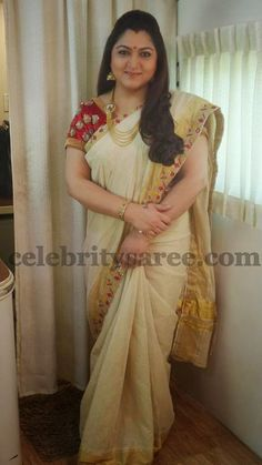 Exclusive Collection of Indian Celebrity Sarees and Designer Blouses Kerala Traditional Saree, Traditional Dresses, Kerala Saree, Indian Sarees, Silk Sarees, Indian Dresses, Indian Outfits, Malayali Bride, Set Saree