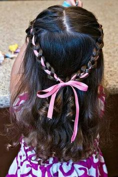 Braid with added ribbon.