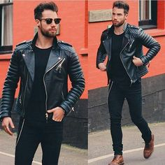 Feeling the biker vibe @chezrust . . . . #men #menswear #bodaskins #black #leather #trend #fashiondaily #instafashion #instastyle #instamood #instagood #dapper #ootd #ootn #mensfashion #instadaily #streetwear #l4l #f4f