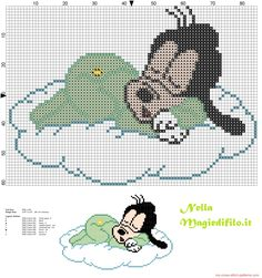 Baby Goofy sleeping on cloud