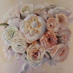 """""""Innocence"""" Oil Painting by artist Pat Fiorello. See more bridal bouquets painted by Pat on : http://patfiorello.com/wedding_bouquet.html"""