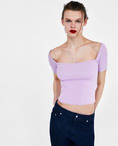 Image 2 of OFF-THE-SHOULDER CROP TOP from Zara