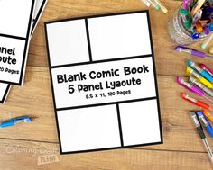 An blank comic to create great stories for children and adults.  One repetitive layout of 5 panels. 120 pages of the same template. The most popular and most liked template, perfect for all types of comics. Simple and easy to carry out the action makes it great for children, beginners as well as advanced cartoonists.