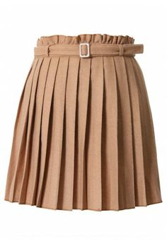 belted tan pleated skirt