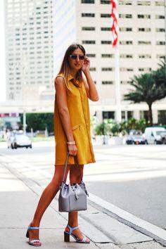 RACHEL ROY mustard-colored shirt dress, Diesel sunglasses and Michael Kors bag in stylish outfit of fashion blogger Tanya Litkovska