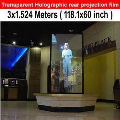 (In vendita!) 1.524 m * 3 m adesivo pellicola della proiezione posteriore trasparente (vetrina), schermo di proiezione olografica con basso costo(China (Mainland))
