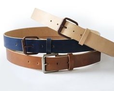 f5e49d85f Mens Handmade Dark Blue Leather Belt Copper Buckles and by BasAder Tan Leather  Belt