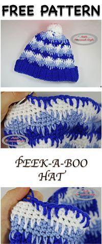 PEEK-A-BOO Hat - Free Crochet Pattern by Nicki's Homemade Crafts #crochet #hat #beanie #pompom #spike #stitch #eyelashes