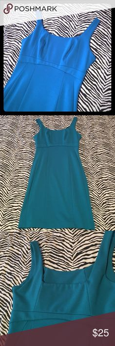 """New York & Company dress Classy teal dress with seamed detailing. Overall excellent condition, but one small thread pull at the bust, some very minor wash wear, and some minor makeup smudging inside the garment. Polyester/rayon/spandex blend - machine washable! Hidden side zip. Bust 16"""", waist 14"""", length 35"""" New York & Company Dresses Midi"""