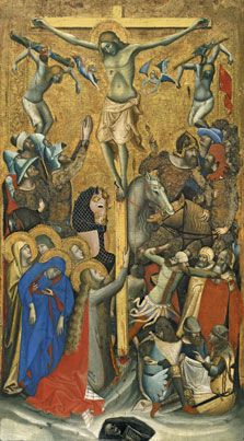 VITALE DA BOLOGNA Crucifixion c. 1335 Tempera on panel, 93 x 51 cm Museo Thyssen-Bornemisza, Madrid This busy and crowded composition is filled with anecdotal detail. In the soldiers' uniforms and the caparison worn by the horse to the left of the cross, Religious Paintings, Religious Art, Web Gallery Of Art, Gospel Of Luke, High Middle Ages, Italian Baroque, European Paintings, Bologna, Museums