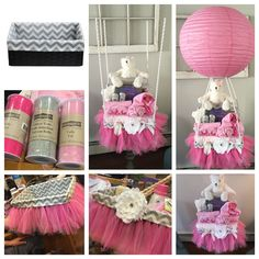 Home-made hot air balloon princess baby shower gift basket!   Made this gift for a close friend of mine! She is expecting a girl and her nursery is pink and grey!   Purchased:  Basket - Kohls  Tulle for basket- Michales Tulle for bear skirt- Michales  Center white bow- Michaels Balloon 3 ft poles - Michaels  24 in Lantern - Amazon  Most baby gifts were purchased from her registry (buy buy baby)  Was super fun to do, I love making baskets for all occasions, and this is by far my favorite one!