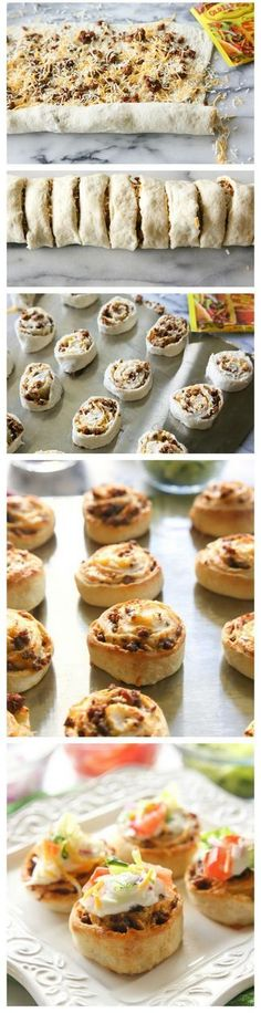 This is mini pizza organized into rolls. The filling is made of meat and cheese. Delicate one. The twist is that guests can finish these amazing rolls with desired topping before eating.