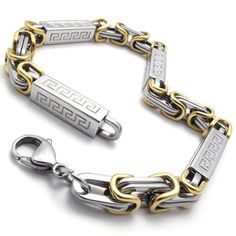KONOV Jewelry Men's Stainless Steel Bracelet, Gold Silver, 9 Inch (with Gift Bag)