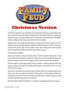 Christmas Family Feud - Printable Game -  Christmas Family Game -  Party Game  -  Family Friendly Game by PamsPartyPrintables on Etsy