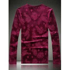 Plus Size Velvet Paisley Emboss V-Neck Long Sleeve T-Shirt #hats, #watches, #belts, #fashion, #style