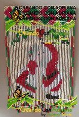 NAVIDAD - CREANDOCONADRIANA Beading Ideas, Tree Skirts, Beadwork, Christmas Tree, Beads, Holiday Decor, Log Projects, Trapper Keeper, Key Fobs