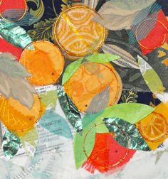"Oranges, 11"" x 14"", matt - Artist Debbie Van Dyke - #fiberart, #textileart, #embroidery"