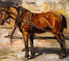 """FRANZ MARC  Small Study of a Horse I (1905) - you can tell his view of horses in """"noble"""". I like that!"""