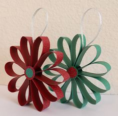 Scrapbook Paper Flower Ornaments Tutorial-----these would be cute in Christmas fabrics