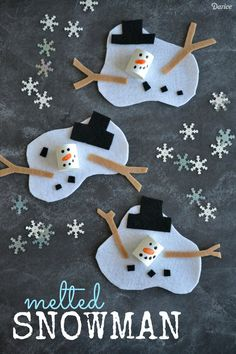 Melted Snowman Craft Project for Kids - Darice Find Easy Christmas Crafts for kids including preschool Christmas crafts.They will love these holiday crafts for Christmas craft ideas for children. Kids Crafts, Holiday Crafts For Kids, Craft Projects For Kids, Foam Crafts, Preschool Crafts, Easy Crafts, Craft Ideas, Art Projects, Craft Foam