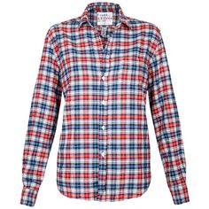 Frank & Eileen Eileen Shirt - Red and Blue Plaid Flannel ($280) ❤ liked on Polyvore featuring tops, red and blue plaid flannel, red button up shirt, button down shirt, red long sleeve shirt, flannel shirts and plaid button up shirts