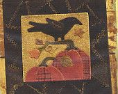 Primitive Folk Art Wool Applique Table Mat Pattern: SEPTEMBER - Wool Crazy Mat - - - BASE MAT pattern is sold separate----50 percent off.