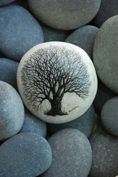 Handpainted tree on beach stone by Studio320Decker on Etsy