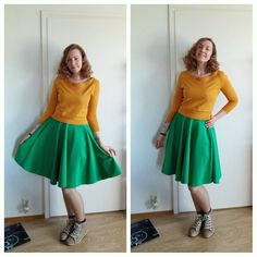 Pop of color. Skirt made by me, sweater was refashioned from an oversized secondhand sweater.